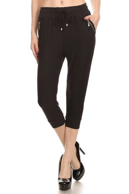 Black Zipper Capri Jogger