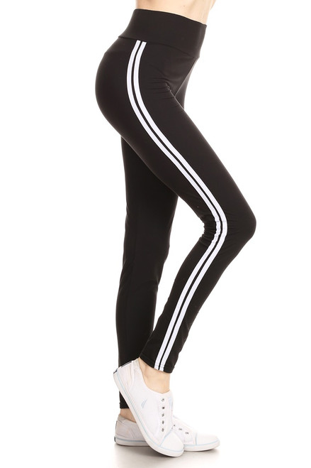 Black Double Stripe Leggings