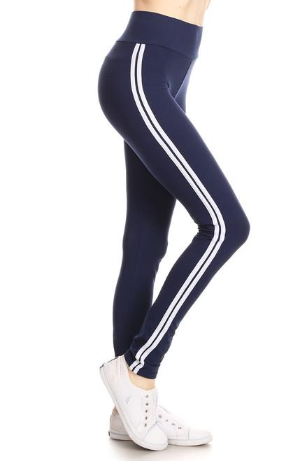 Navy Double Stripe Leggings