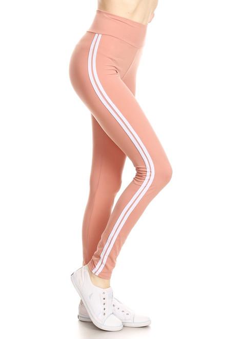 Mauve Double Stripe Leggings