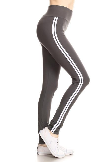 Charcoal Double Stripe Leggings