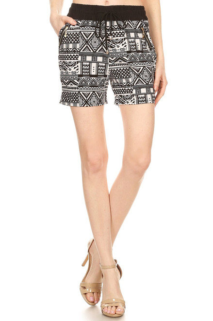 BLACK TRIBAL ZIPPER SHORTS