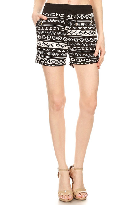 BLACK AZTEC ZIPPER SHORTS