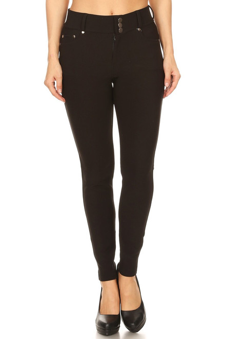 Black 3 Buttons Skinny Pant
