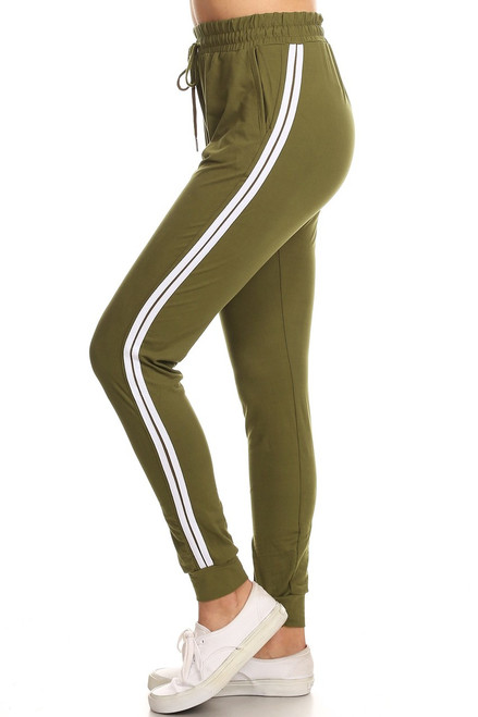 Olive Double Stripe Jogger