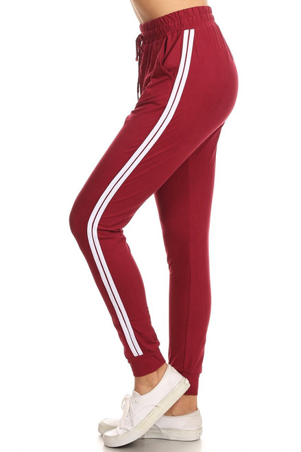 Burgundy Double Stripe Jogger