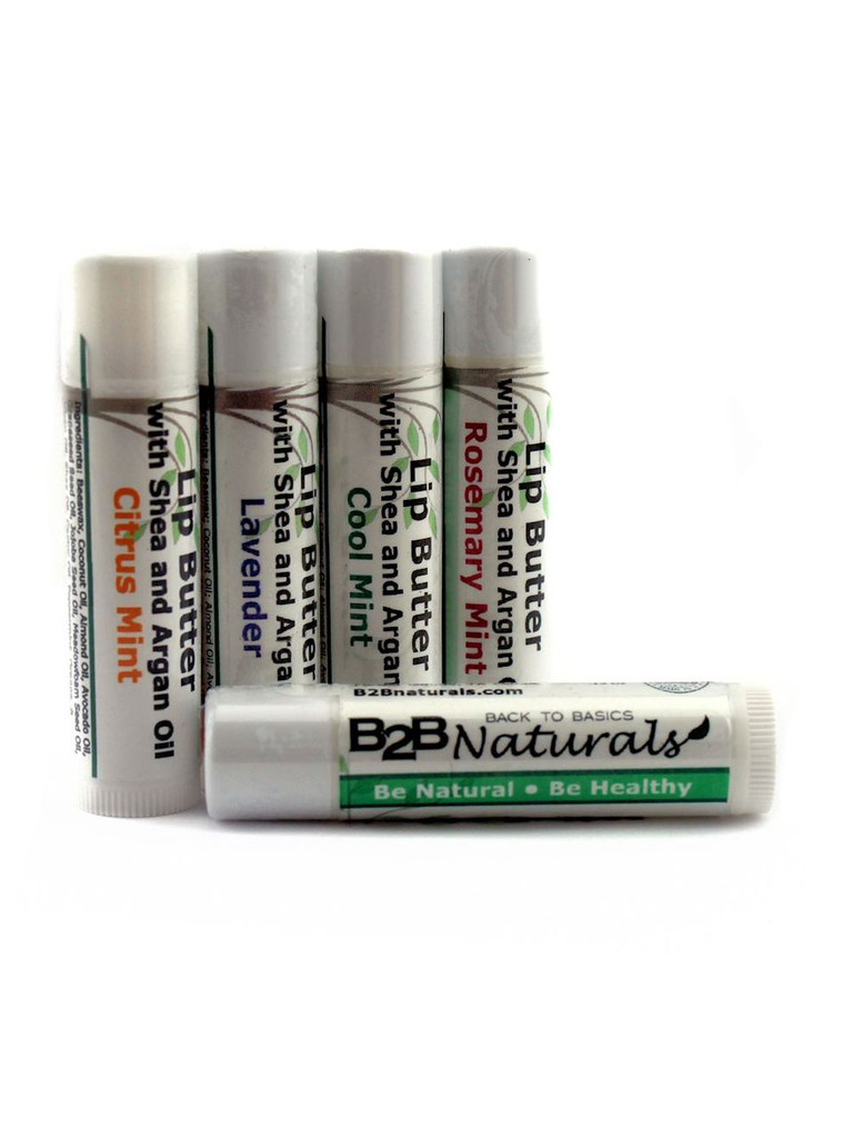 All-natural, luxurious moisture for your lips enriched with the soothing and softening benefits of Shea and age-defying Moroccan Argan oil. Long-lasting and scented with 100% natural essential oils. Your one stop for a lip butter that lasts.  Comes in four fantastic scents: Citrus Mint, Cool Mint, Lavender, and Rosemary Mint.