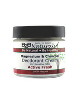 Magnesium & Charcoal Deodorant Cream Active Fresh.  The 100% all-natural deodorant that works overtime keeping you fresh all day.  Our unique, mineral formula includes Activated Charcoal, Magnesium, and Diatomaceous Earth to fight odor and absorb perspiration while pure Shea and Cocoa Butters soothe and moisturize your underarms.  You will be pleasantly surprised at how well it works!