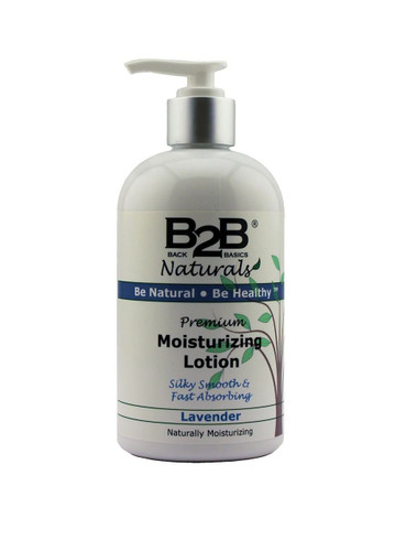 B2B Naturals Premium Moisturizing Lotion with Lavender essential oil.  Silky smooth and fast absorbing.