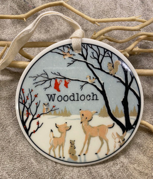 Ornament - Ceramic Woodloch w. Deer