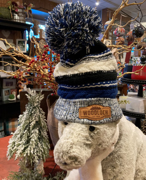 Woodloch Blue & Black Knit Pom Pom Hat