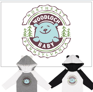 """Woodloch Baby"" Long Sleeve Onesie - Black & White"