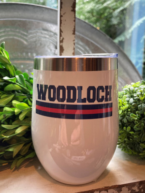 White Woodloch Striped Wine Tumbler