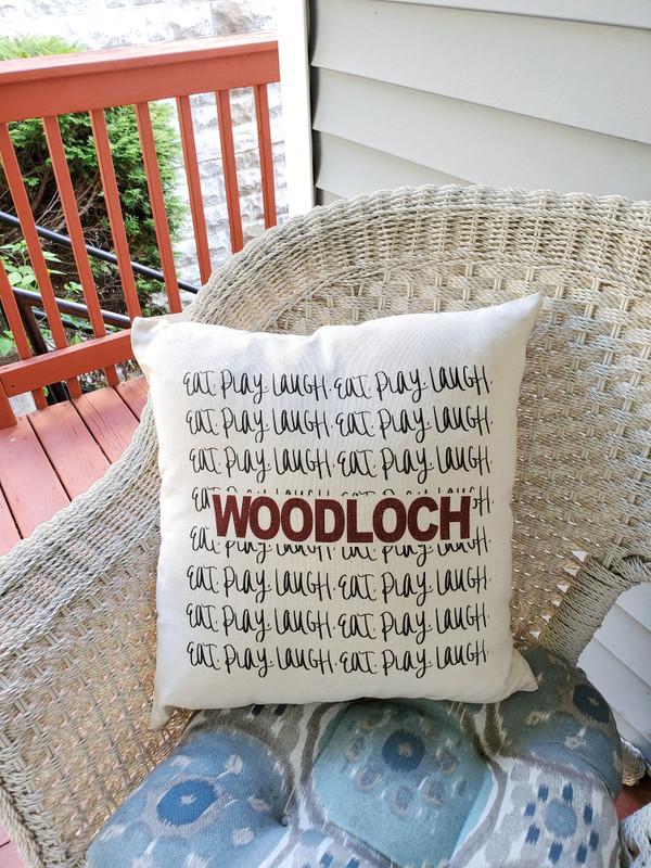 """Woodloch """"Eat, Play, Laugh"""" Pillow"""