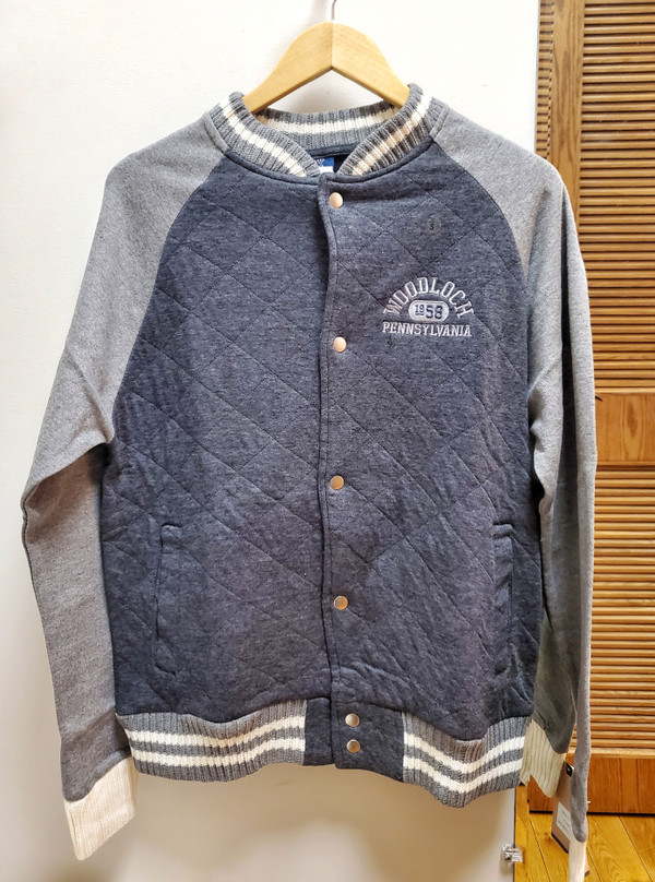 Snap Button Up Unisex Sweatshirt Jacket - Charcoal
