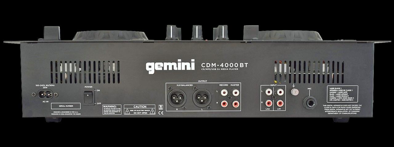 Gemini CDM 4000BT 2 Channel Professional Dual MP3/CD/USD USB Mixer w/ Bluetooth