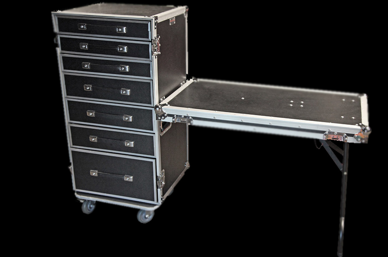 OmniSistem 7 Drawer DJ Table / Road Case Combo