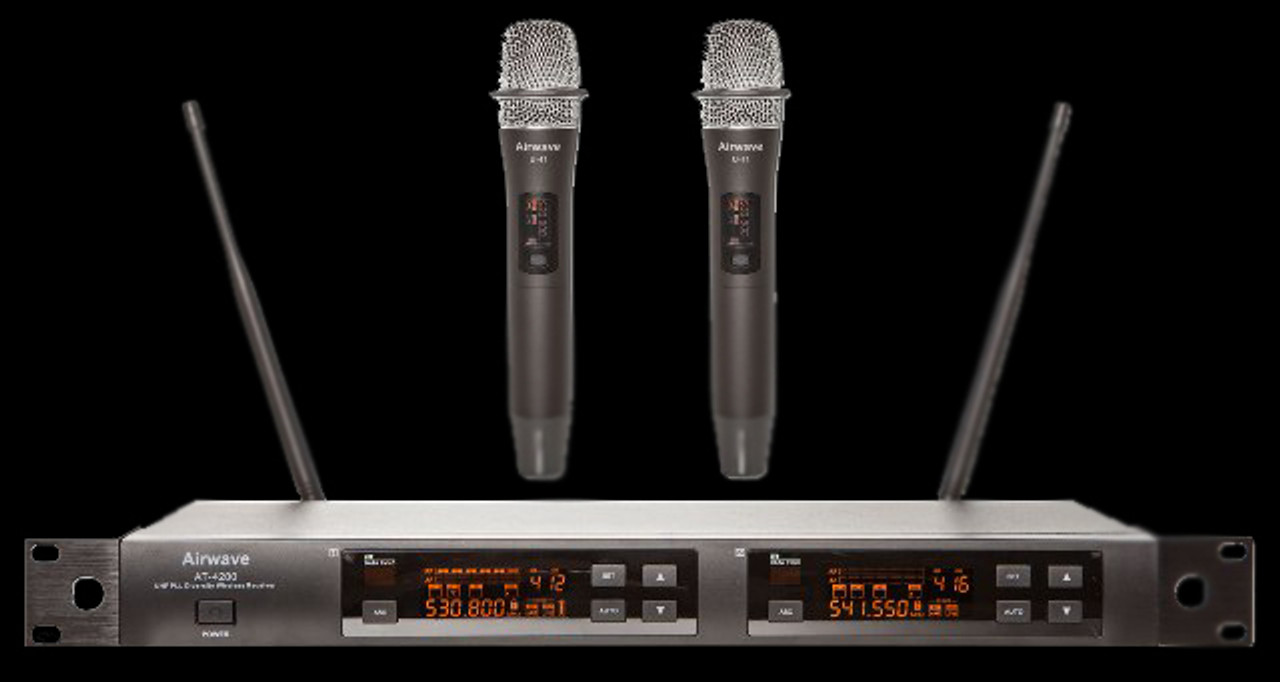 Airwave AT-4210 UHF Dual Channel Wireless Microphone System