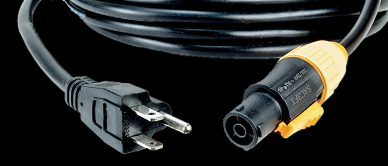 ADJ SIP1MPC10 is a 50FT IP65 Power Twist Lock to 3-Prong Edison Plug Cable.