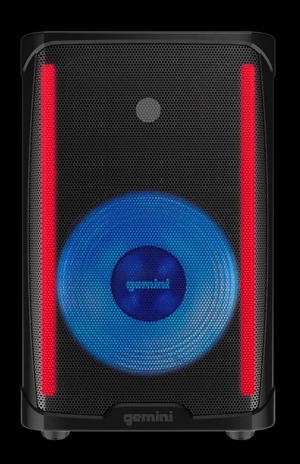Gemini 1000W Powered Bluetooth Party DJ Speaker w/ LED Lights / GD-L115BT