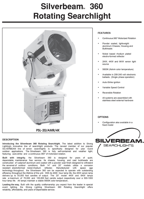 Silverbeam 360 Rotating High-intensity Searchlight