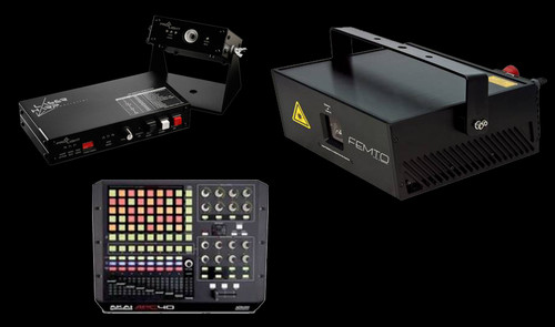 Laser Harp System w/ Laserworld RTI FEMTO RGB 7 Full Color Whitelight Laser Projector