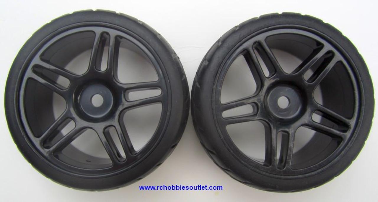 02020 02185 1/10 Scale Wheel, Tire and Black Rim  ( 2 wheels complete)