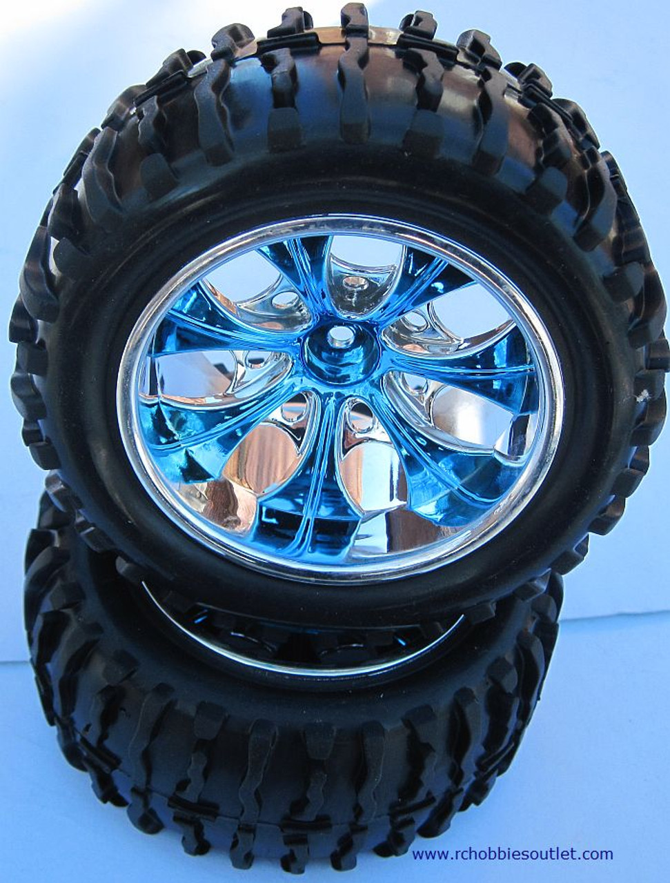 08010 N2  1/10 MONSTER TRUCK BLUE FACTORY TEAM WHEEL  (2 PC) HSP, Redcat