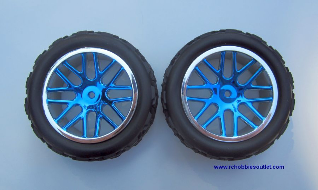 30712 Blue 1/10 Scale Wheel Tire and Blue Rim Complete 2 Wheels per package