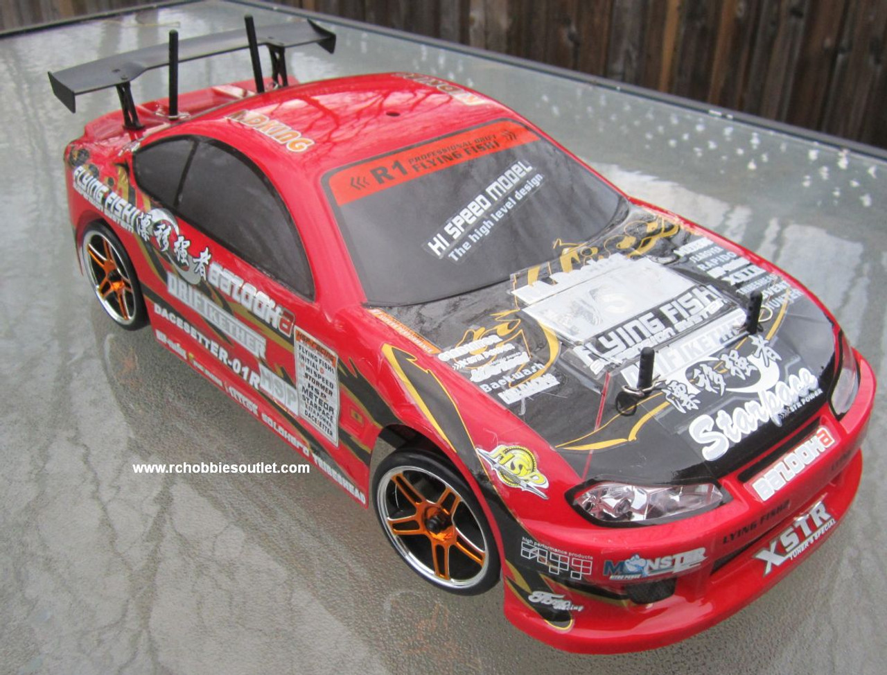 RC drift car 1/10 scale with lights