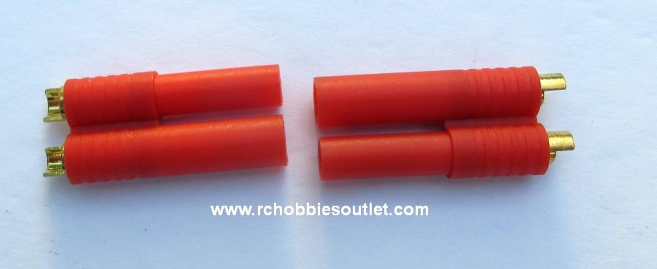 Pair of 4mm  Banana Gold Bullet Connectors  Redcat EC4