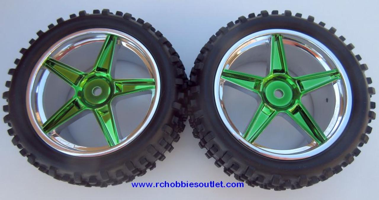 06026  2 Rear Wheel & Tire Green Chrome Rim 1/10 Scale  HSP, Redcat