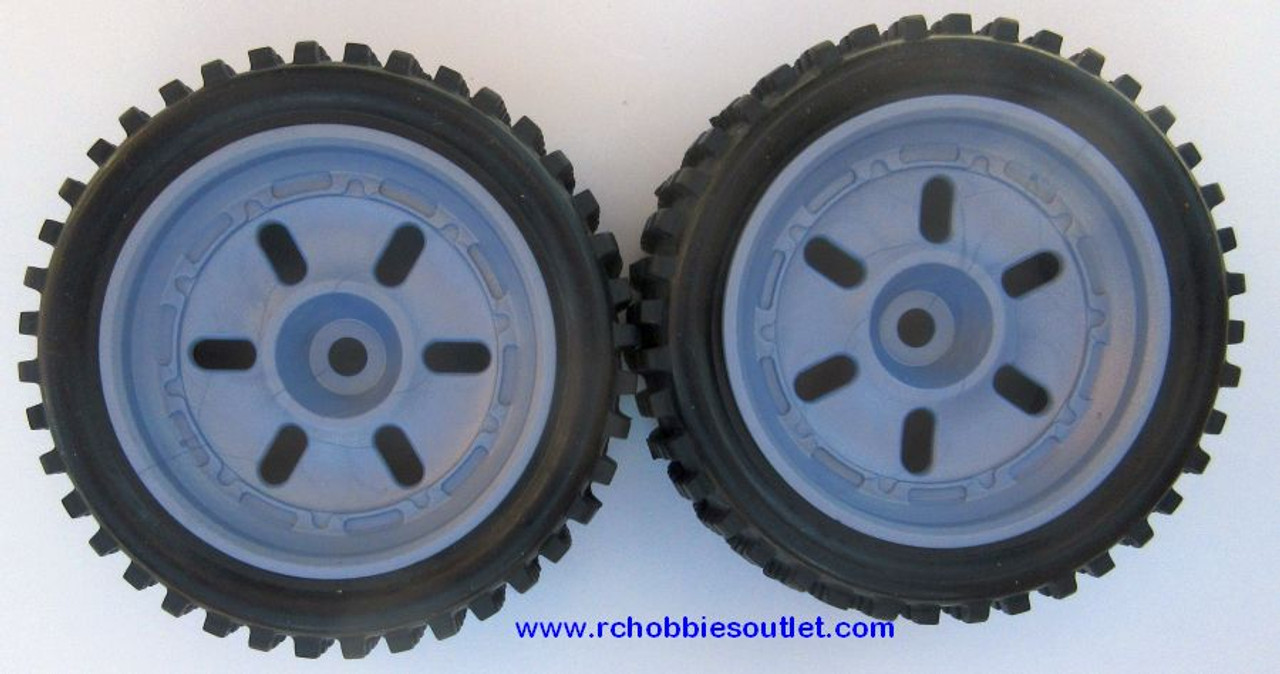 40210 Rear Wheel, Tire and Grey Rim  ( 2 wheels complete) 1/12 Scale