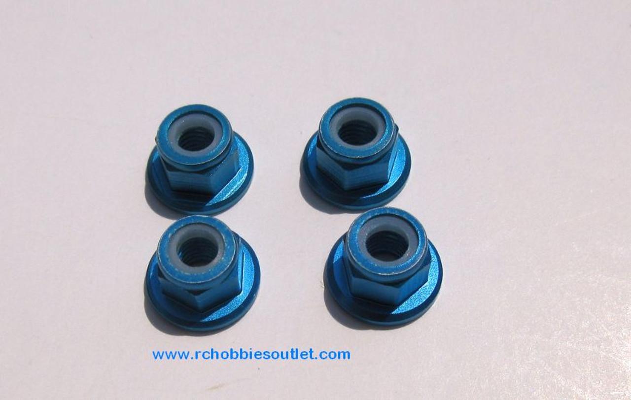 102049 or 02190  Blue Aluminum  Nylon Lock Nut M4 HSP Redcat, etc 02055