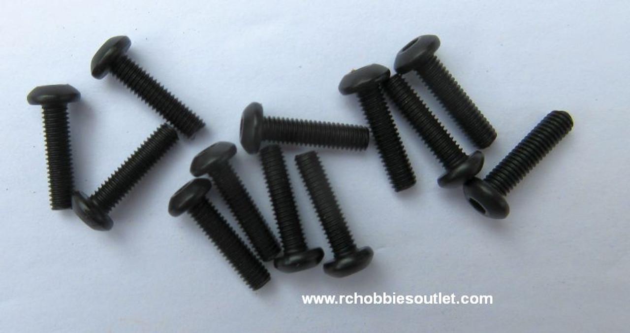 50101 Cap Head Hex Machine Screws 3*12 mm HSP Redcat (12 Pieces)