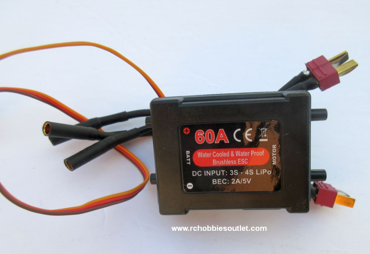 830122 60A Water Cooled Brushless ESC w/ Two T Connectors for US-1 and Bullet RC Boat Joysway