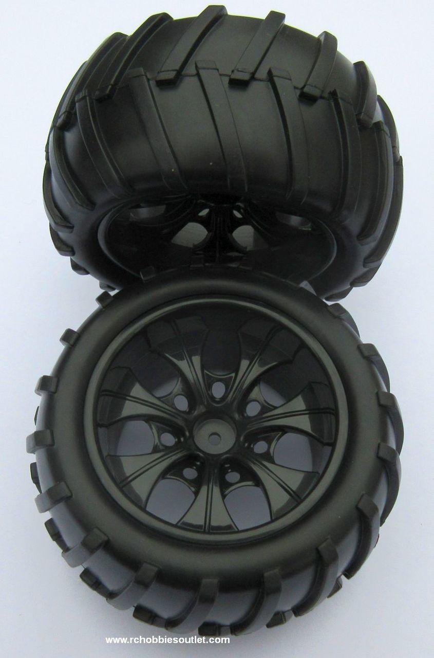 08010 N  1/10 Monster Truck Black Rims  (2 PC) HSP, Redcat