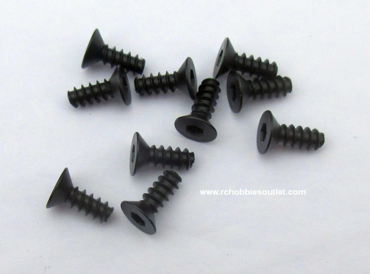 70132 Flat Head Countersunk Hex Self-Tapping Screw   3*8   10 Pieces