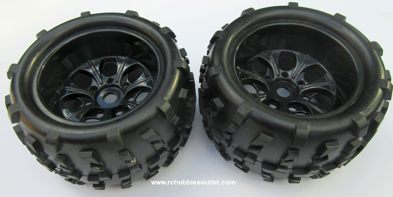 62012 1/8 Scale Truck Wheel Black Rims Tires Complete 2PC