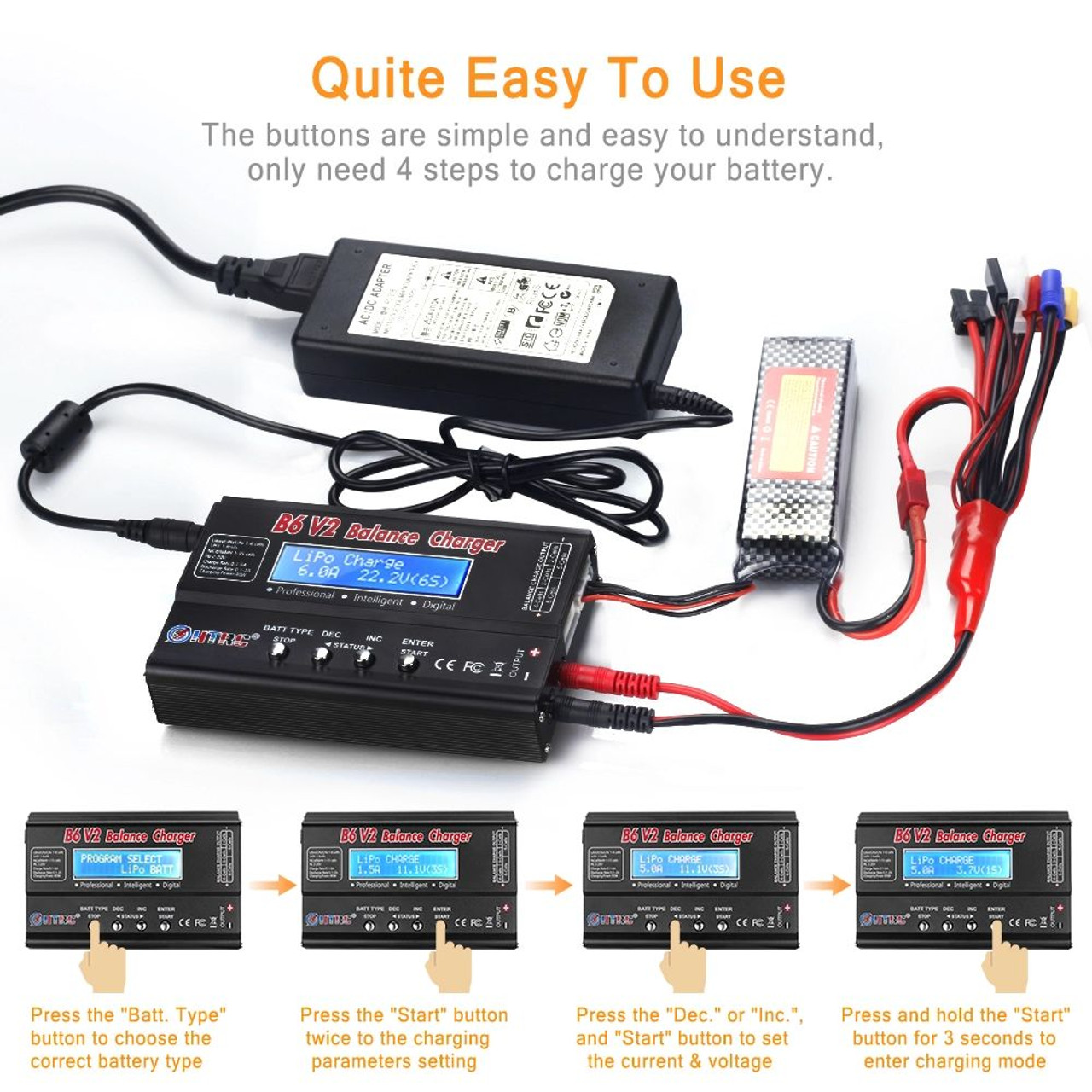 HTRC B6V2 80W RC Charger NIMH  & LIPO Balance  Fast Charger