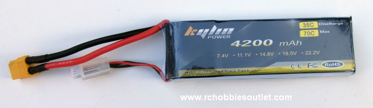 Kylin LIPO Lithium RC Battery 7.4V 35C 2 Cell 4200MAH XT60 Connector