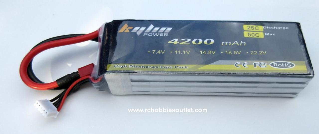 14.8V 4200 mAh 4 cell  25C LIPO Slim RC Battery