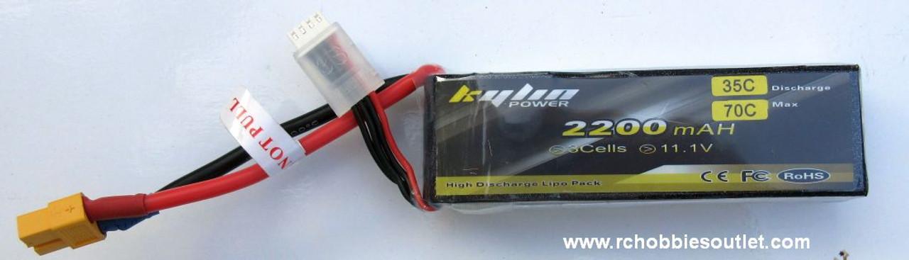 Kylin LIPO Lithium RC Battery 11.1V 35C 3 CELL 2200MAH X60 Connector