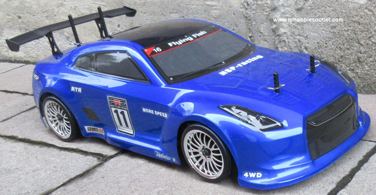 RC Drift Car Electric Radio  Control RTR 1/10 2.4G 4WD GTR-BL