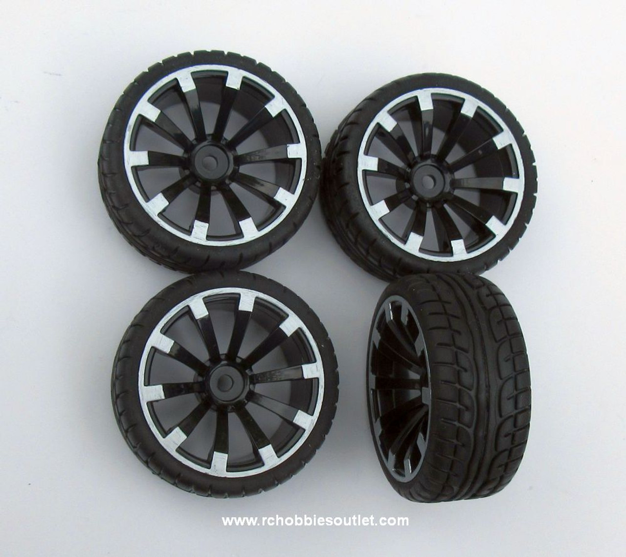 02020 02185 1/10 Scale Wheel -Tire and Silver/Black Rim ( Set of 4)