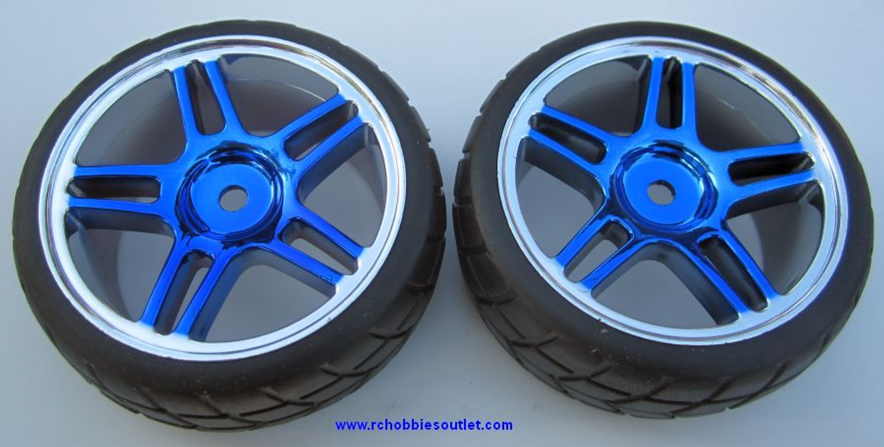 02020 02185  1/10 Scale Wheel, Tire and Rim Complete  X 2 Blue