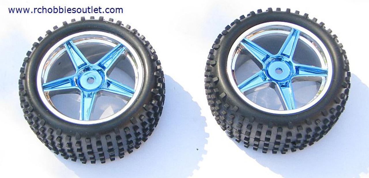 06026 1/10 scale HSP 2 Rear Wheel & Tire  Blue Rim