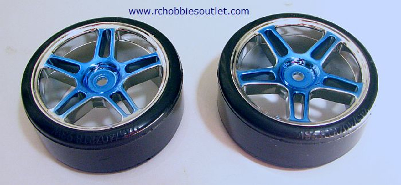 07003 1/10 SCALE DRIFT TIRES RIMS WHEELS COMPLETE  BLUE