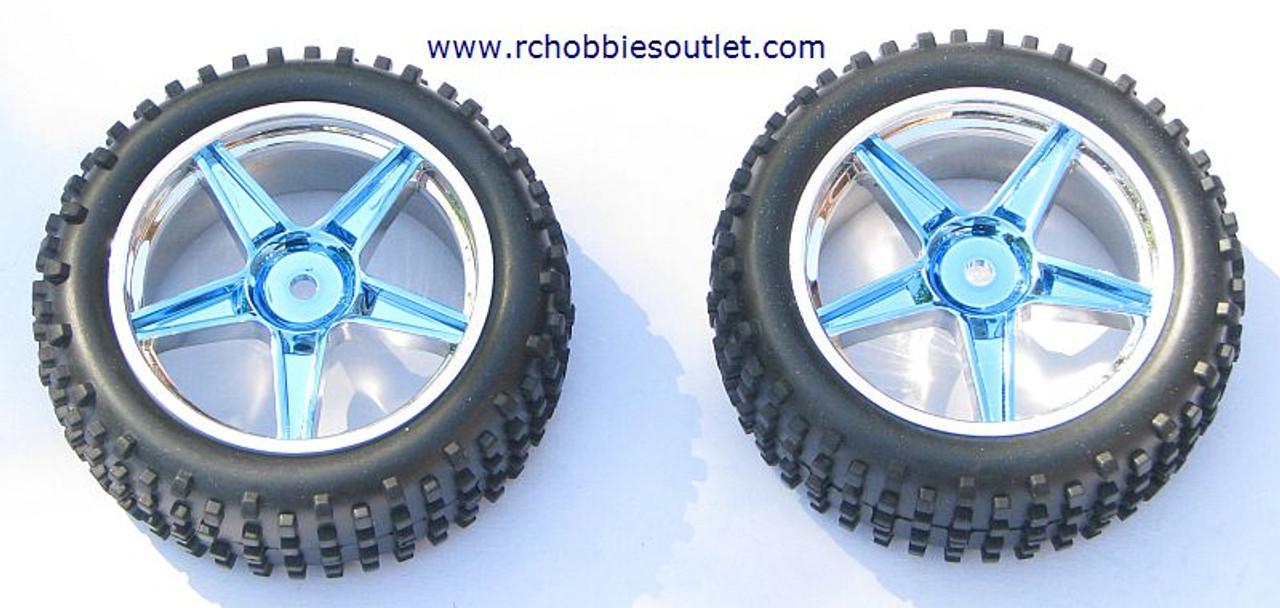06010 1/10 Scale Front Tire & Rim Blue HSP ATOMIC