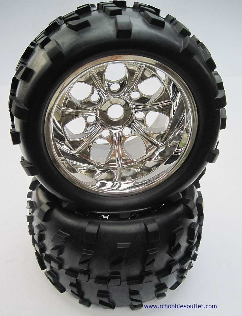 62012 1/8 SCALE TRUCK WHEEL RIMS TIRES COMPLETE 2PC